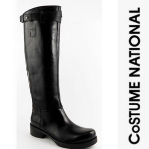 Costume National Black KneeHigh Leather Boots IT40